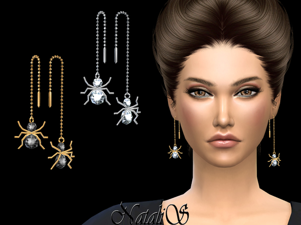 Spider Chain Drop Earrings by NataliS at TSR image 1813 Sims 4 Updates