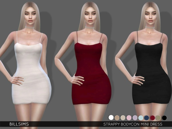Sims 4 Strappy Bodycon Mini Dress by Bill Sims at TSR