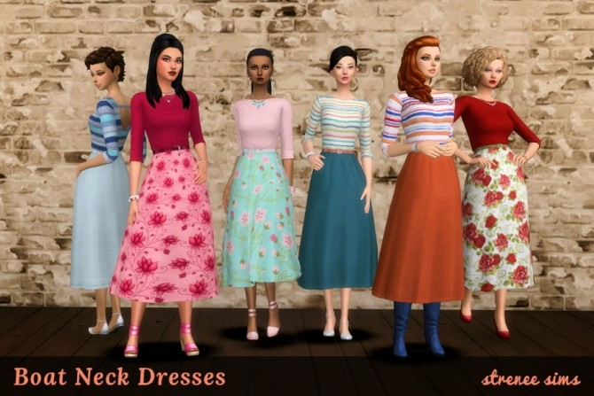 20 Floral & Striped Boat Neck Dresses at Strenee Sims image 18212 670x447 Sims 4 Updates