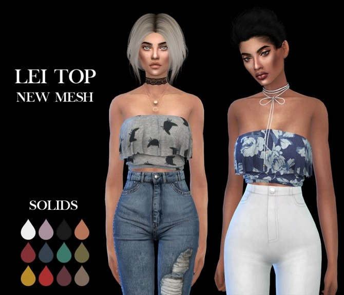 Sims 4 Lei Top at Leo Sims