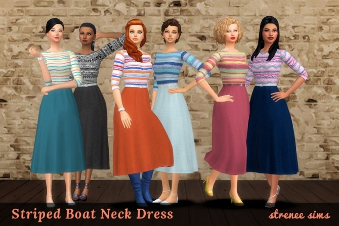 20 Floral & Striped Boat Neck Dresses at Strenee Sims image 18310 670x447 Sims 4 Updates