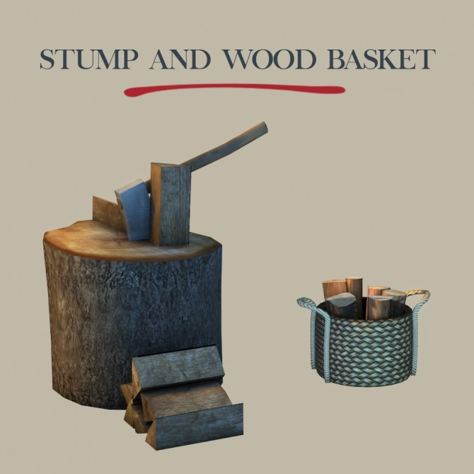 Sims 4 Stump and Wood Basket at Leo Sims