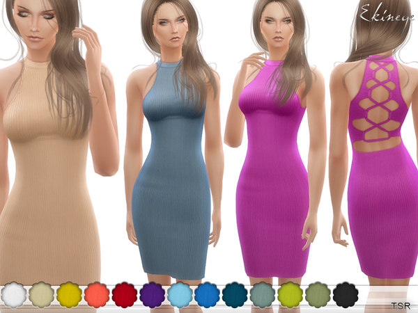 Caged Back Ribbed Dress by ekinege at TSR image 1913 Sims 4 Updates