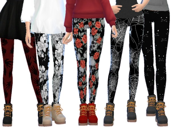Sims 4 Halloween Themed Leggings by Wicked Kittie at TSR