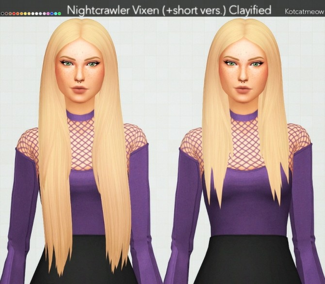 Sims 4 Nightcrawler Vixen Hair (+short version) Clayified at KotCatMeow