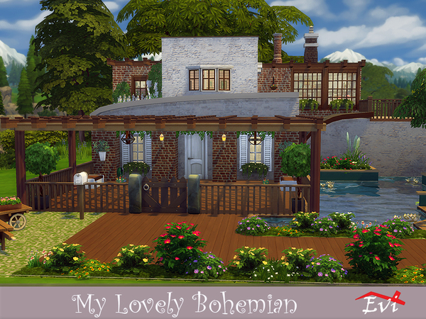 Sims 4 My Lovely Bohemian house by evi at TSR