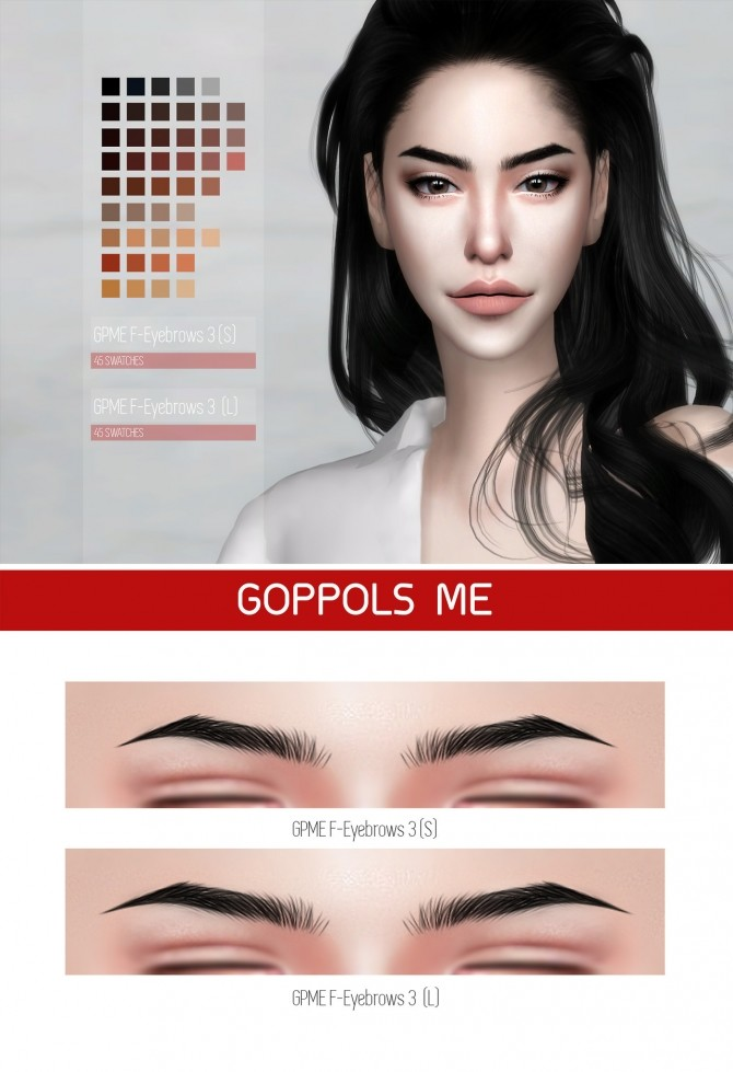 Sims 4 GPME F Eyebrows 3 ( S / L ) at GOPPOLS Me