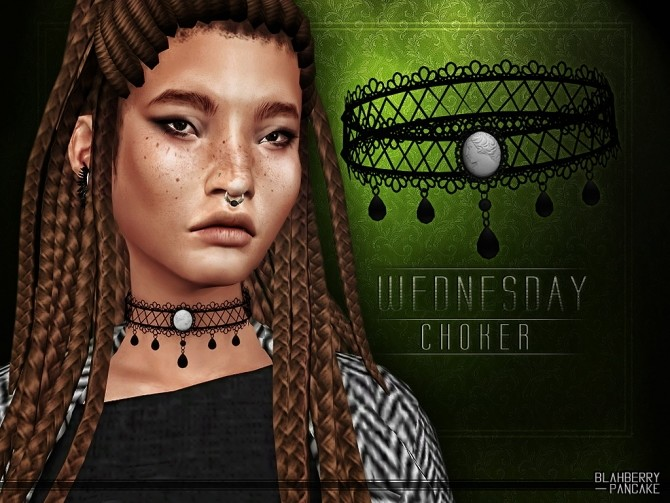 Sims 4 Wednesday choker at Blahberry Pancake
