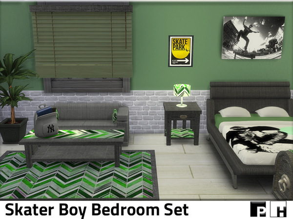 Skater Boy Bedroom by Pinkfizzzzz at TSR image 2100 Sims 4 Updates