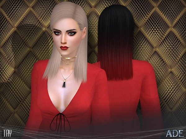 Sims 4 Tay hair mesh 27 colors + 9 Ombres by Ade Darma at TSR