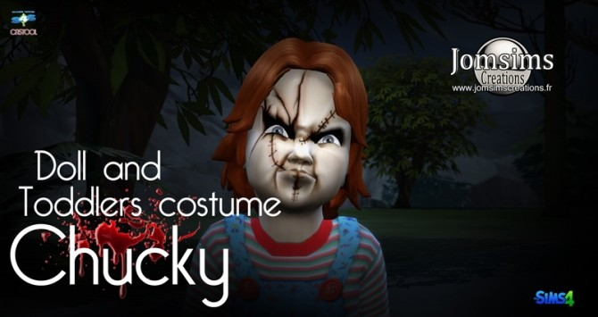 Sims 4 Chucky doll costume set at Jomsims Creations