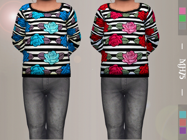 Sims 4 Goth Rose Top T by Margeh 75 at TSR