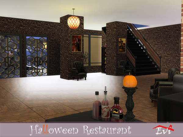 Sims 4 Halloween Restaurant by evi at TSR