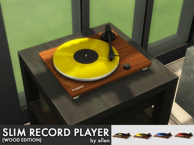 Slim Record Player Turntable Wood Edition At Simobjects