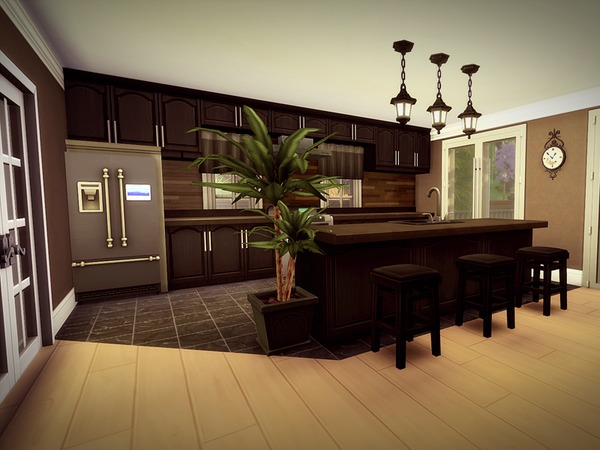Sims 4 Sprucecourt NO CC house by melcastro91 at TSR