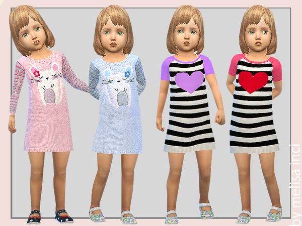 Sims 4 Striped Sweater Dress T by melisa inci at TSR