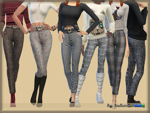 Sims 4 Pants Tweed by bukovka at TSR