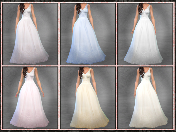 Sims 4 Sleeveless Wedding Gown 01 by Five5Cats at TSR