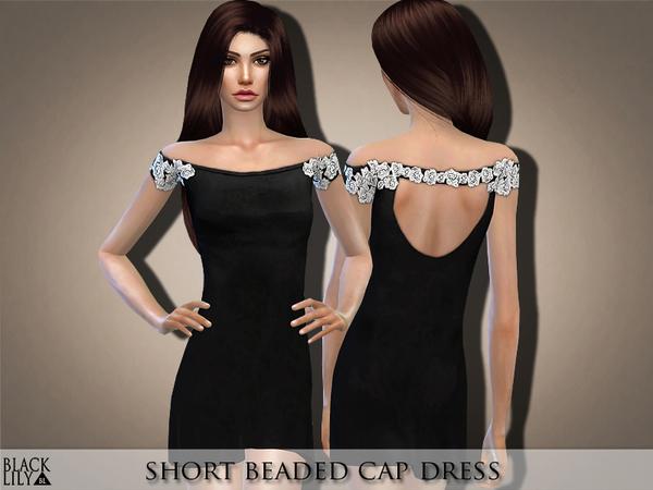 Sims 4 Short Beaded Cap Dress by Black Lily at TSR