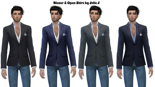Sims 4 Male Blazer and Open Shirt at Julietoon – Julie J