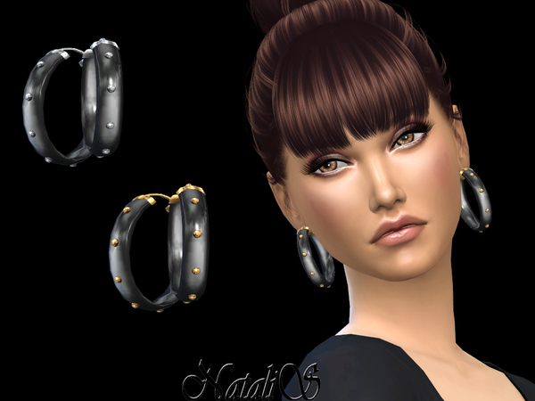 Sims 4 Onyx and Metal Bangle Earrings by NataliS at TSR