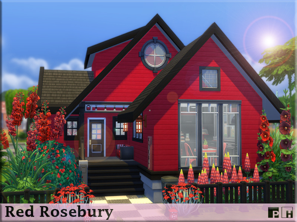Sims 4 Red Rosebury cottage by Pinkfizzzzz at TSR