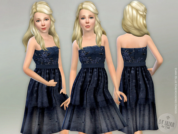 Sims 4 Dark Blue Embroidered Dress by lillka at TSR