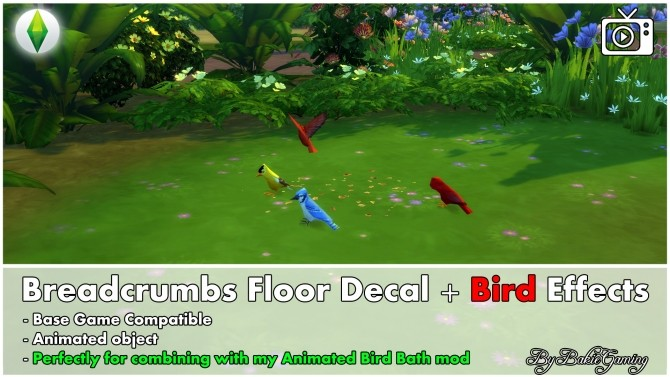Sims 4 Breadcrumbs floor decal + Bird effects by Bakie at Mod The Sims