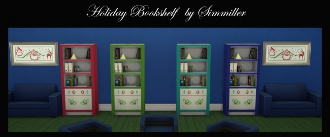 Holiday Book Shelf Winter Theme by Simmiller at Mod The Sims image 3414 670x278 Sims 4 Updates