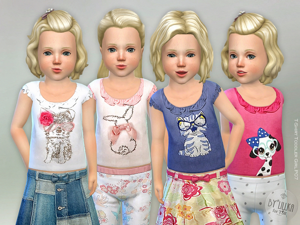 Sims 4 T Shirt Girl P07 by lillka at TSR