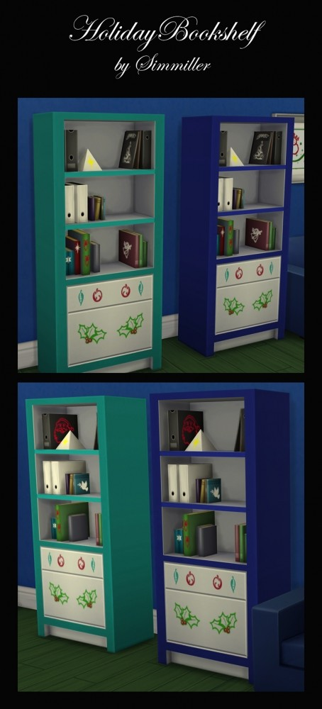Holiday Book Shelf Winter Theme by Simmiller at Mod The Sims image 3514 454x1000 Sims 4 Updates