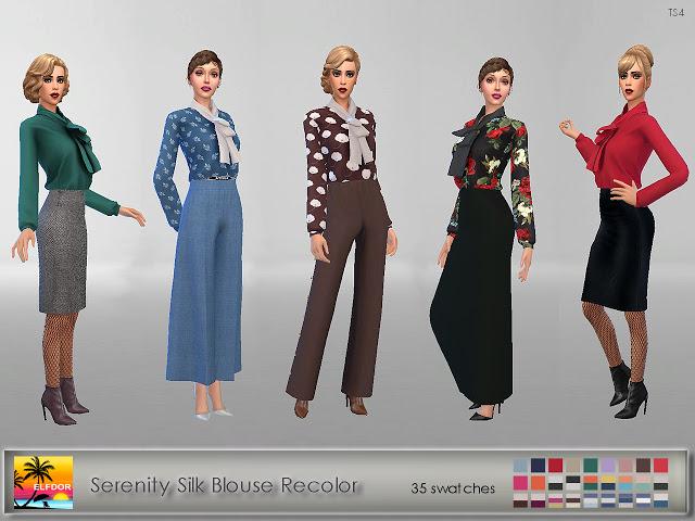 Sims 4 Serenity Silk Blouse Recolor at Elfdor Sims