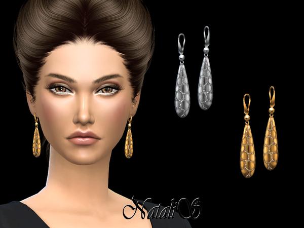 Sims 4 Snakeskin drop earrings by NataliS at TSR