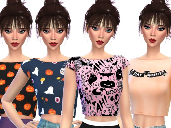 Sims 4 Cute Halloween Crop Tops by Wicked Kittie at TSR