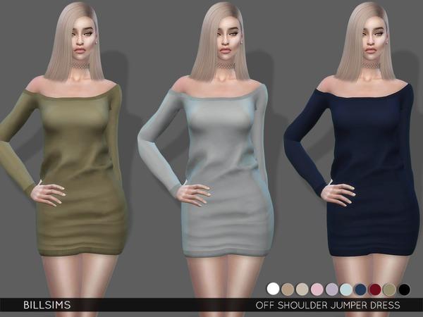 Sims 4 Off Shoulder Jumper Dress by Bill Sims at TSR
