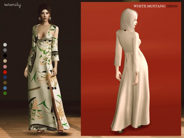 Sims 4 White Mustang Dress by serenity cc at TSR