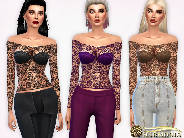 Sims 4 Off the Shoulder Lace Mesh Top by Harmonia at TSR
