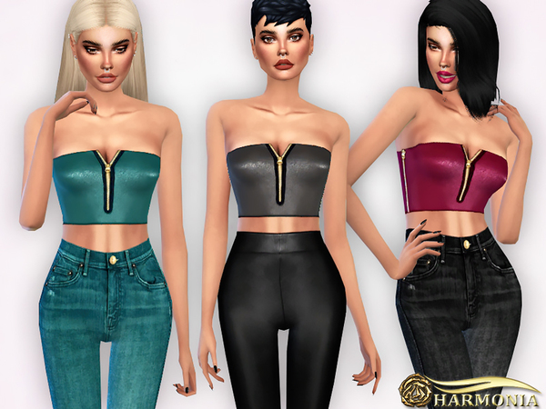 Faux Leather Zip Bralet by Harmonia at TSR image 468 Sims 4 Updates