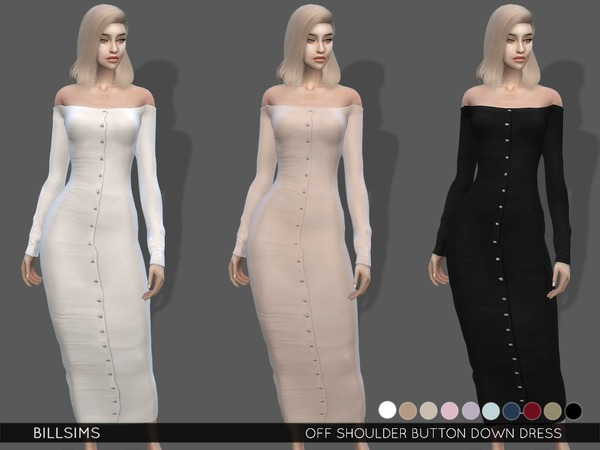 Sims 4 Off Shoulder Button Down Dress by Bill Sims at TSR