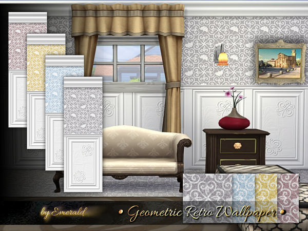 Sims 4 Geometric Retro Wallpaper by emerald at TSR
