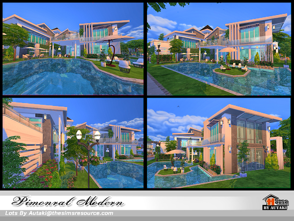 Sims 4 Pimonrat Modern house by autaki at TSR