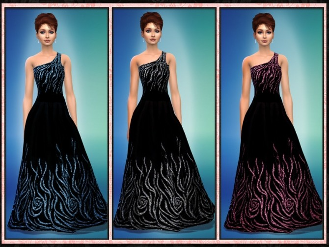 Sims 4 RZ One Shoulder Black Glitter Gown at 5Cats