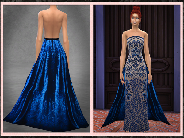 Sims 4 Jewel Embellished Gown with Train by Five5Cats at TSR