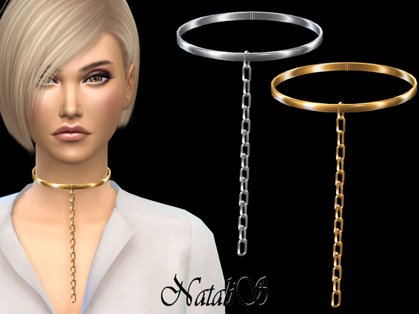 Choker with hanging chain link by NataliS at TSR image 51 Sims 4 Updates