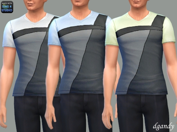 Sims 4 T Shirt with Leather Accent by dgandy at TSR