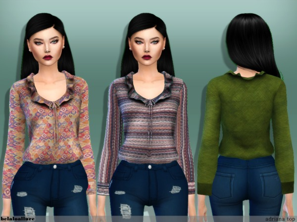 Sims 4 Adriana top by belaloallure at TSR