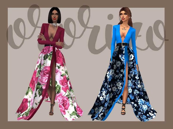 Sims 4 Ondria Recolor Evening Dress by Ororizo at TSR