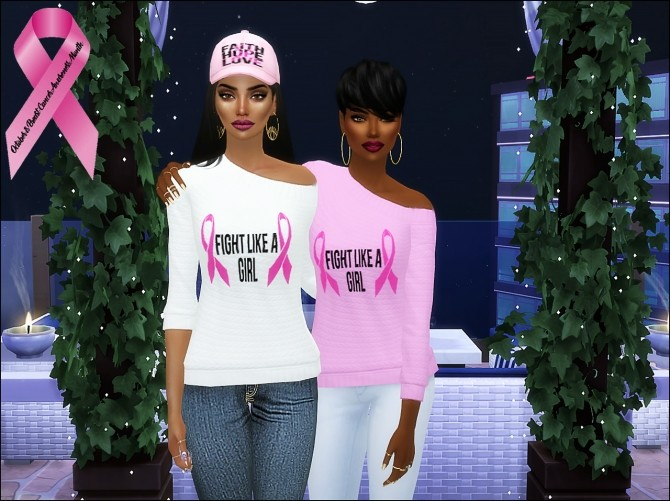 Sims 4 Tops for Breast Cancer Awareness CAS Challenge at The Beautiful Sims of Color