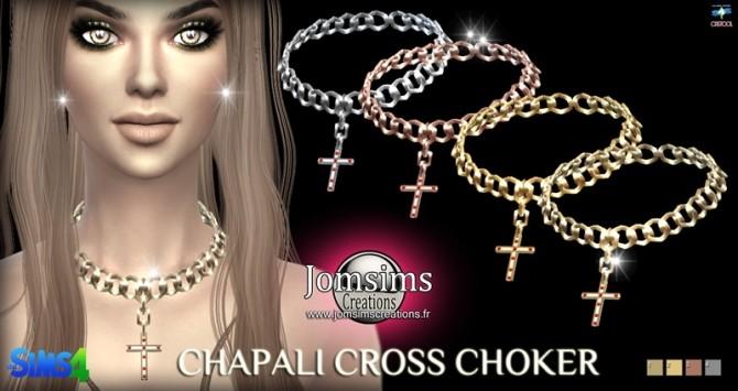 Sims 4 Chapali cross choker at Jomsims Creations
