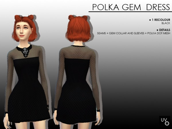 Sims 4 Polka Gem Dress by UltravioletGoyangi at TSR